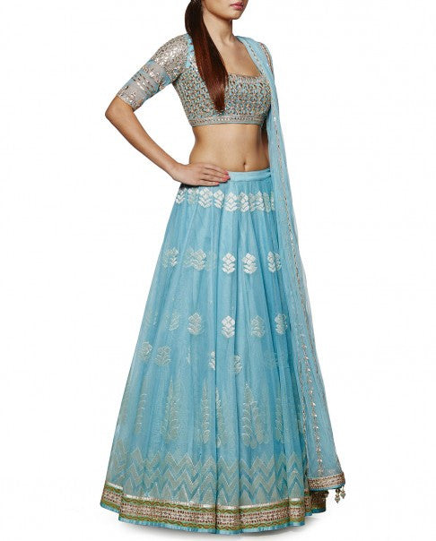 Powder Blue Gotta Patti Lehenga Set