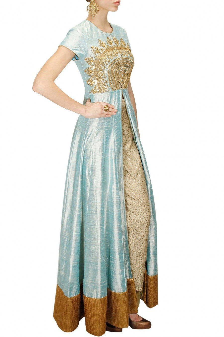 Anarkali Gown in Powder Blue Color with Trouser