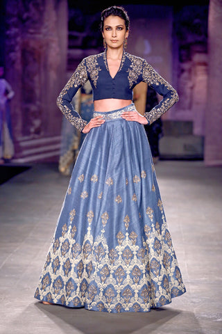 Powder blue lehenga skirt with Navy blue embroidered blouse