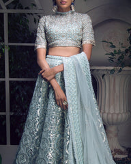 Powdered Blue Gotta Patti Applique Lehenga
