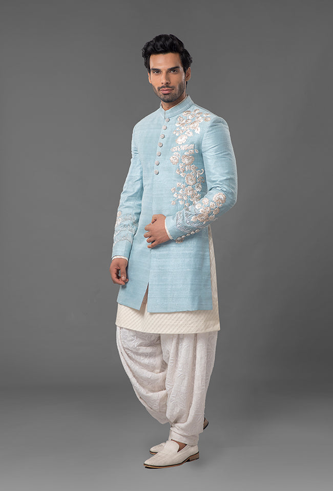 Powdered Blue Raw Silk Sherwani