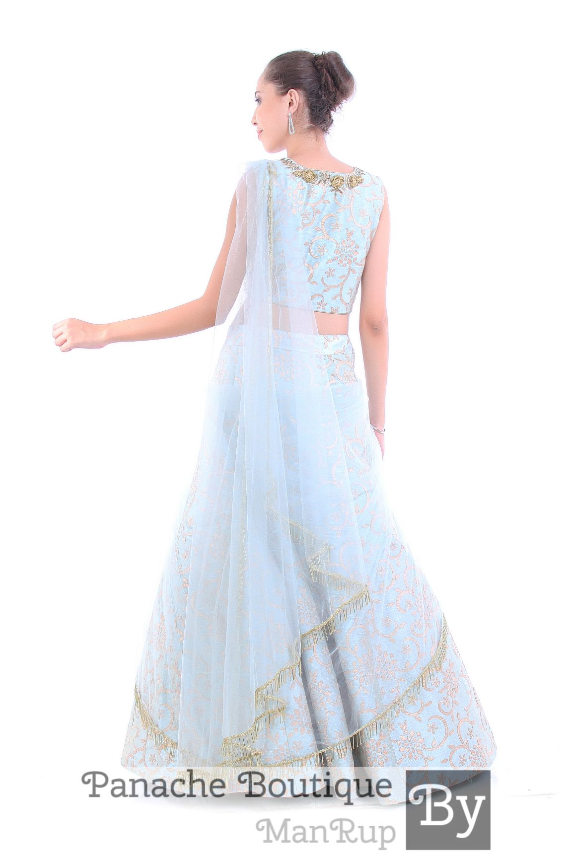 Powdered Blue Color Draped Lehenga
