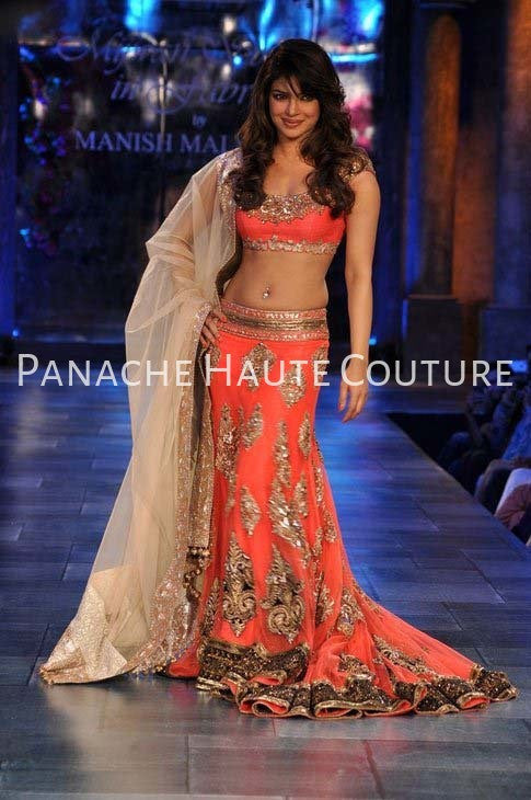 Priyanka Chopra in Coral Color Bridal Lehenga Choli by Panache Haute Couture
