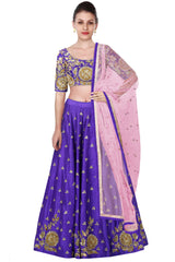 Purple Color Lehenga Choli with Pink Dupatta at Panache Haute Couture