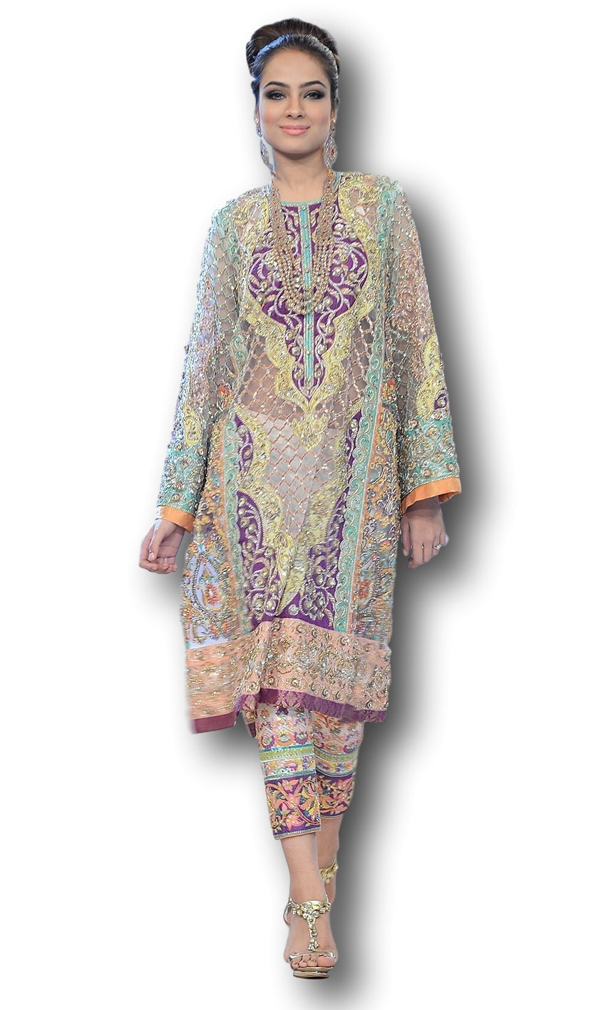Purple and Blue Gotta and Zardozi Work Salwar Kameez at Panache Haute Couture