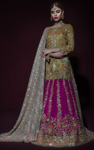 Purple and Gold Bridal Lehenga Set