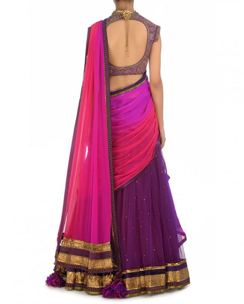 Purple and pink party wear chaniya choli panache haute for How to become a haute couture designer