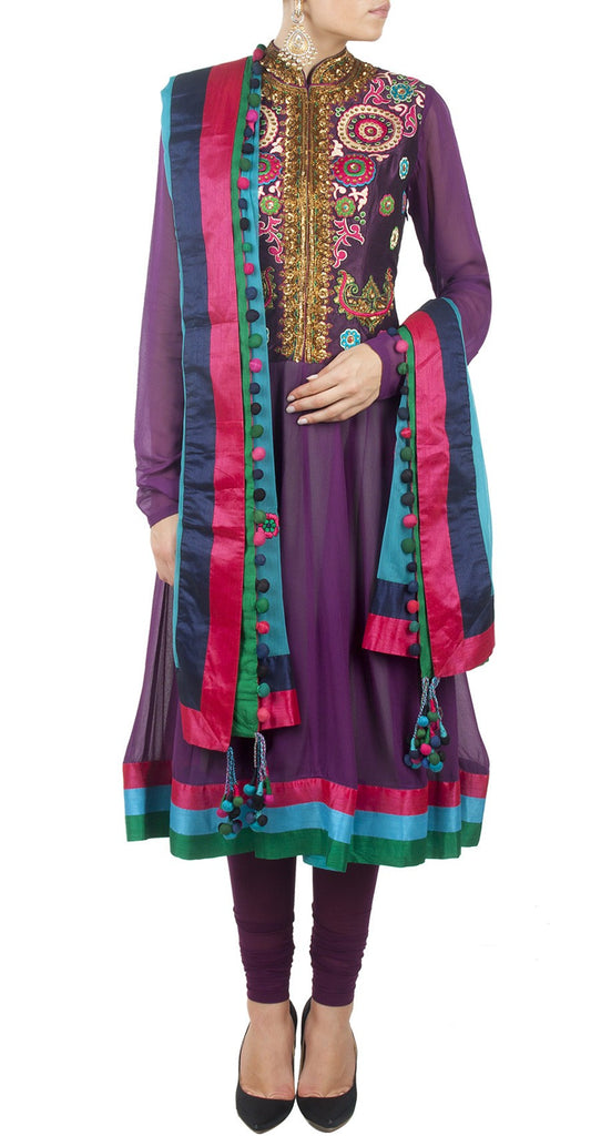 Purple color anarkali kurta