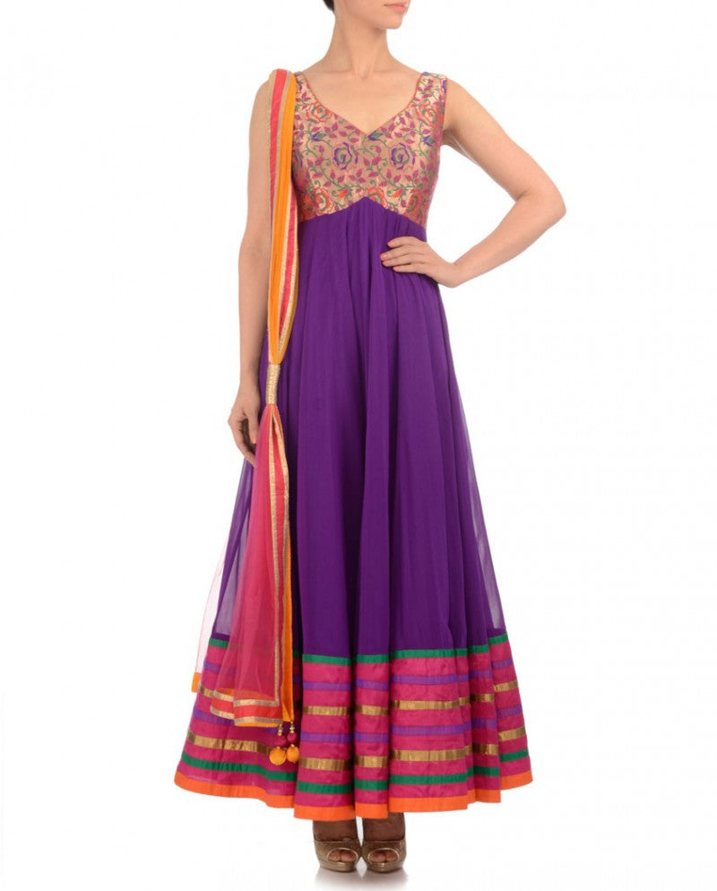 purple color long anarkali suit