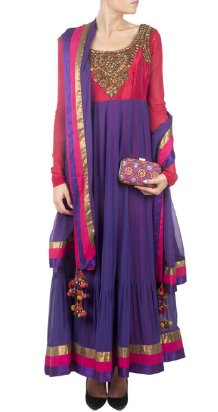 Purple And Red Color Long Anarkali Suit Panache Haute