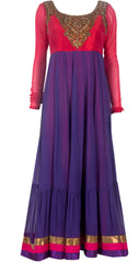 Purple and red color long anarkali suit