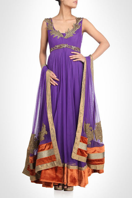 Purple color long anarkali salwar kameez