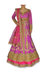 Purple Pink color Jacket lehenga