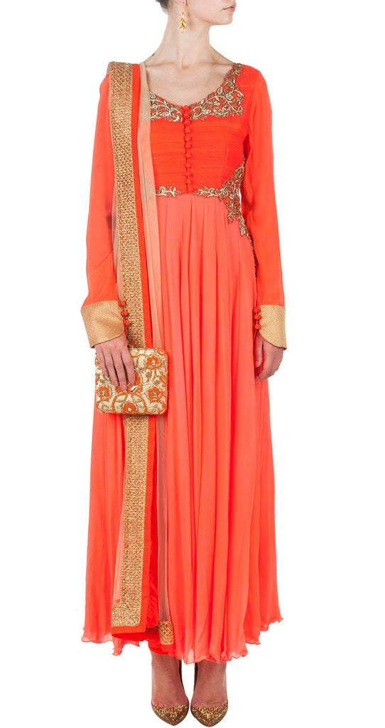 Orange color Long Anarkali