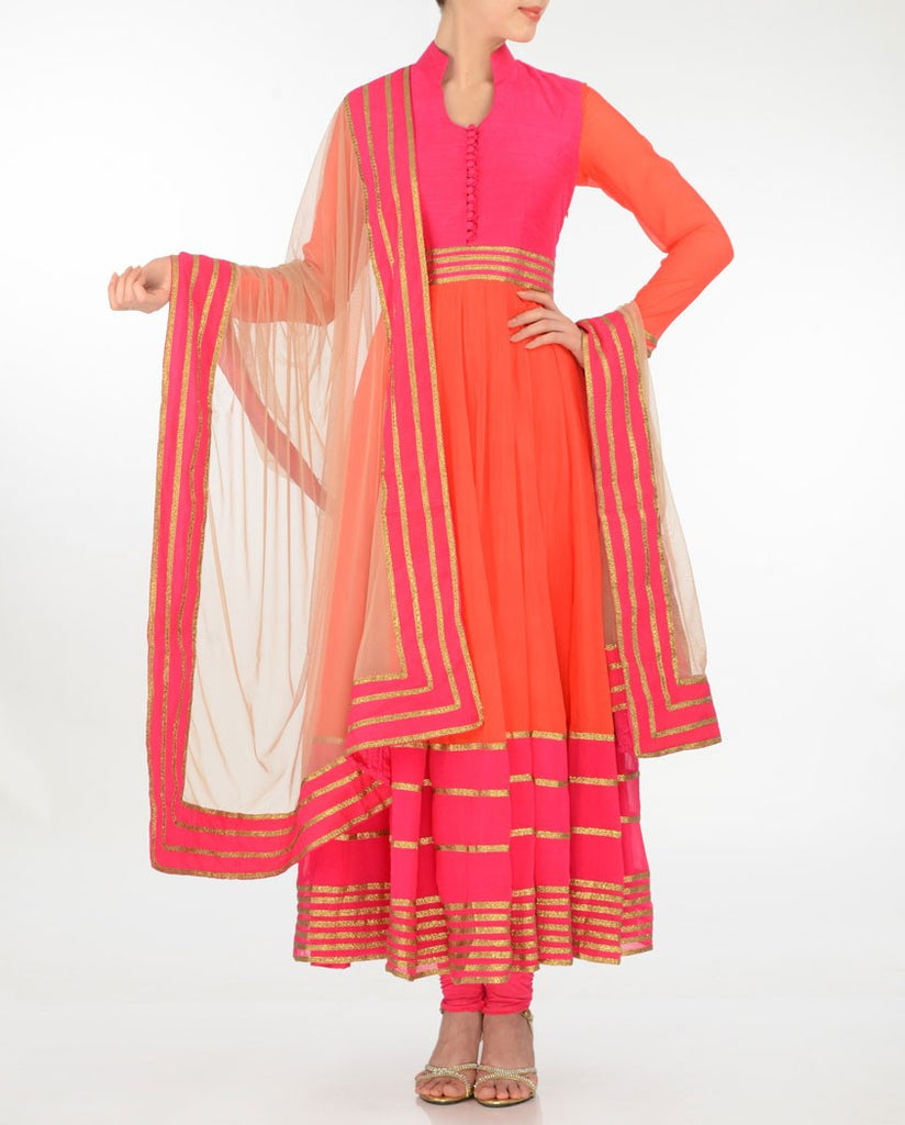 Orange color Long Anarkali suit