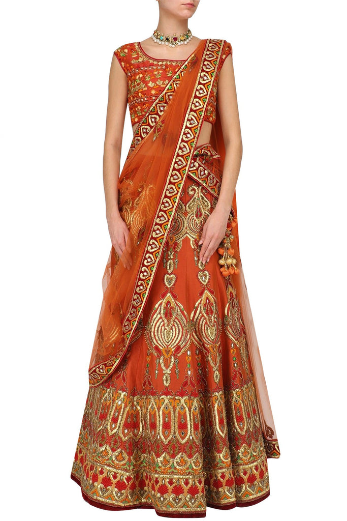 RUST BROWN WEDDING LEHENGA CHOLI BY PANACHE HAUTE COUTURE 1