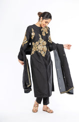 Ravishing Black Color Pure Silk Salwar Kameez