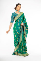 Ravishing Green and Blue Double Shaded Handloom Saree with Kadwa Weaving