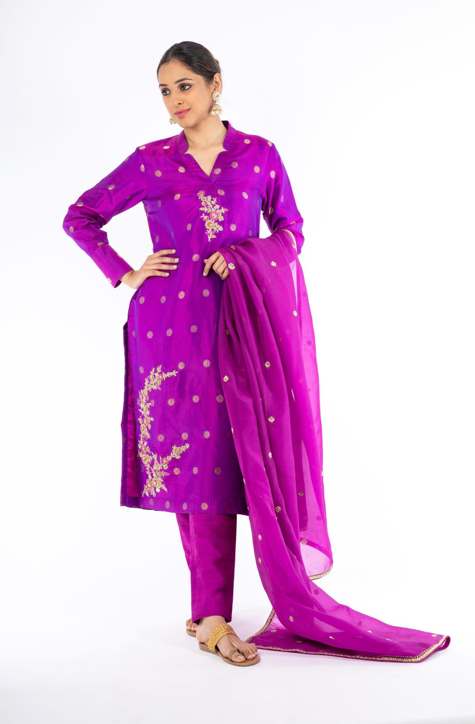 Ravishing Violet UltraMix Color Pure Handloom Silk Salwar Kameez