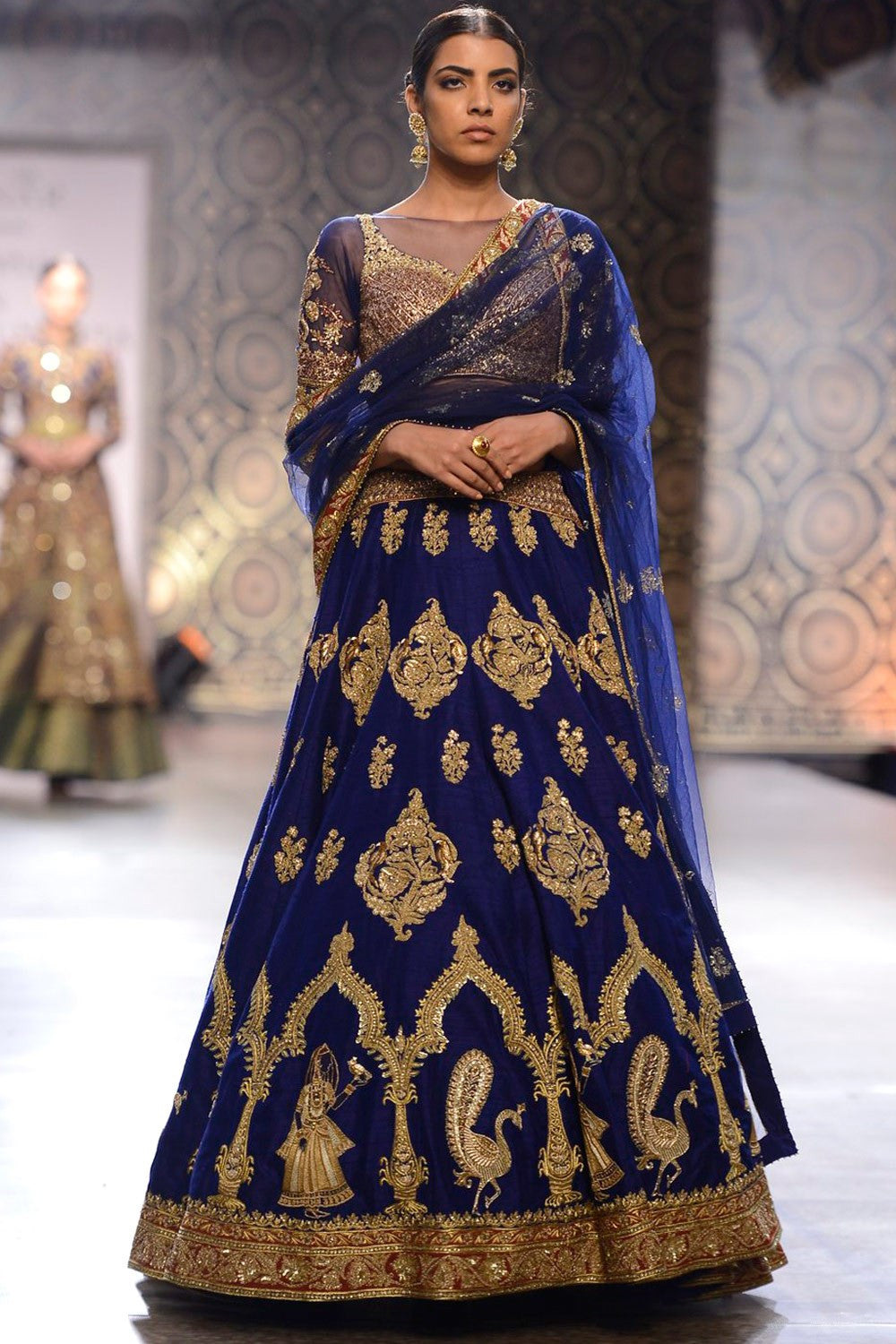Raw silk  blue colour lehenga choli