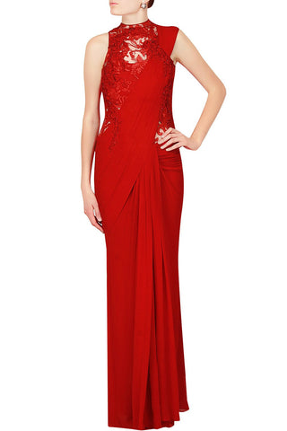 Red Colour Crepe Designer Saree Gown Online