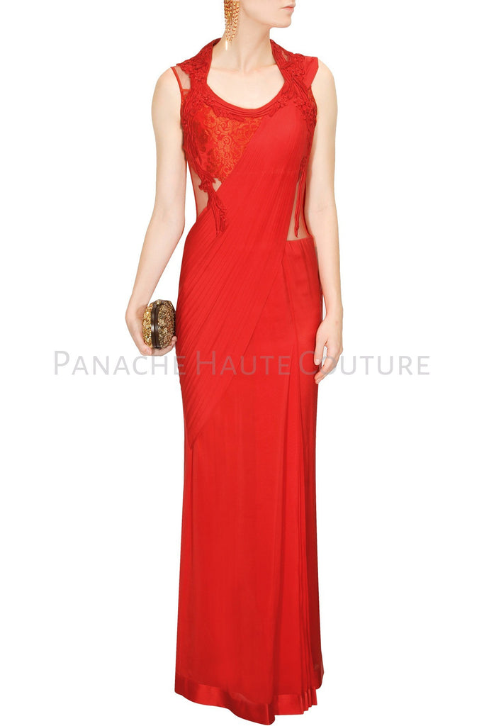 Red Color Designer Saree Gown by Panache Haute Couture