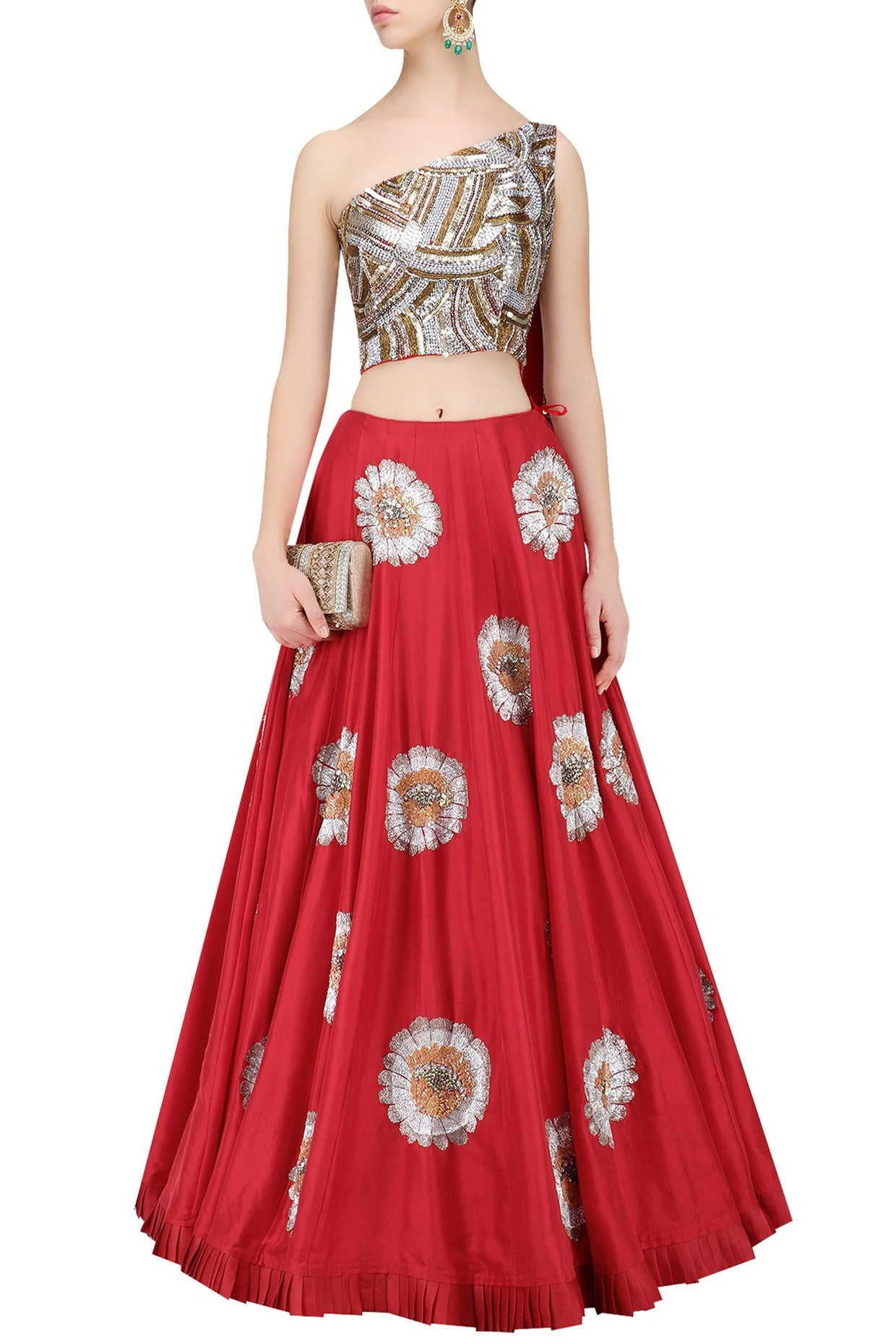 Red Color Lehenga with One Shoulder Blouse