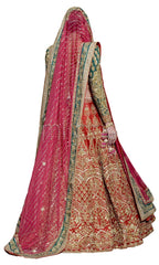 Red Color Wedding Lehenga with Zardozi Embroidery at Panache Haute Couture