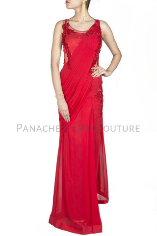 Red Colour Chiffon Designer Saree Gown Online
