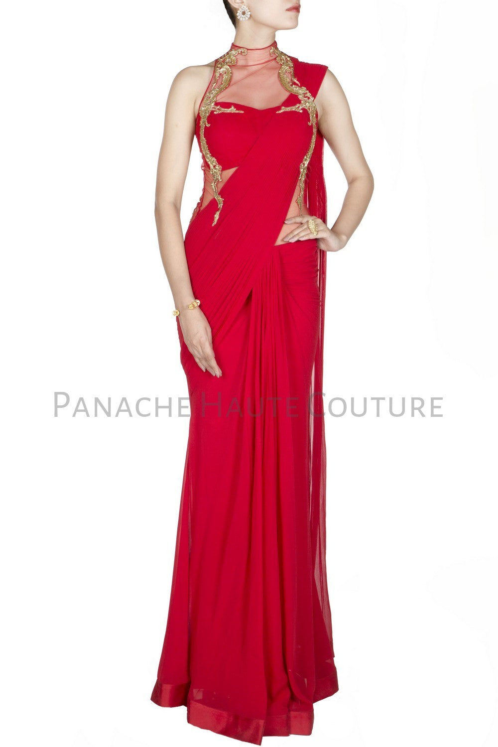 Red Colour Designer Saree Gown Online