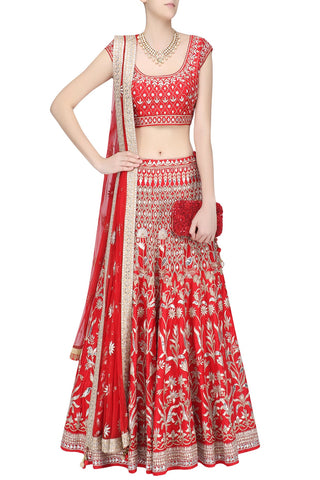 Red Color Gotta Patti Wedding Lehenga