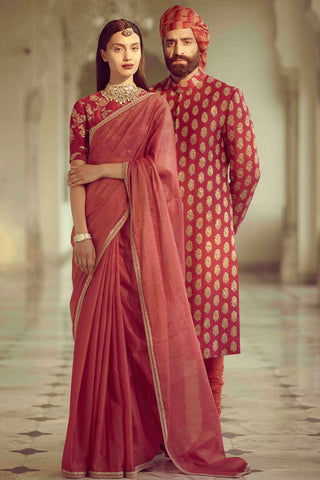 Red Colour Organza Silk Saree