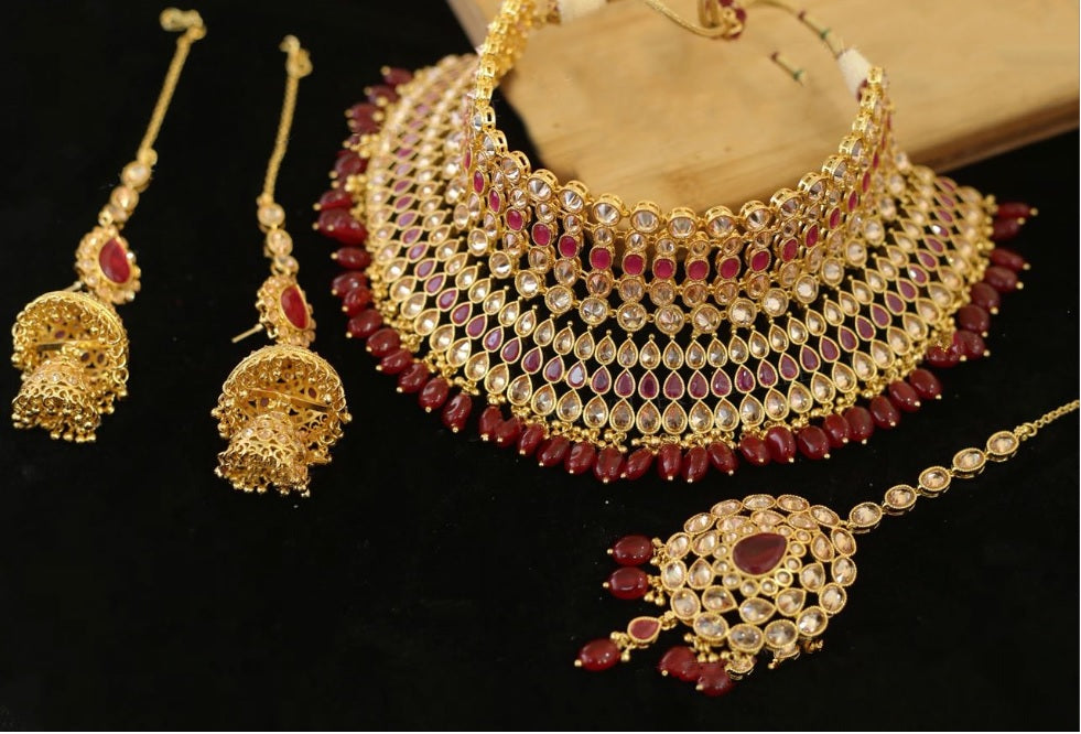 Sabyasachi Inspired Red Maroon Color Kundan Polki Necklace