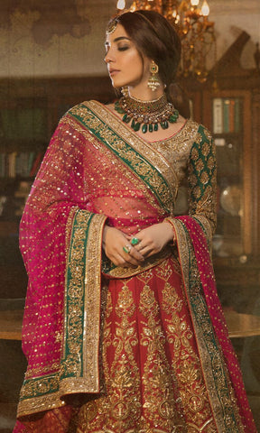 Red and Green Color Wedding lehenga