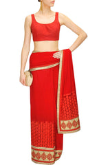 Red Colour Designer Saree