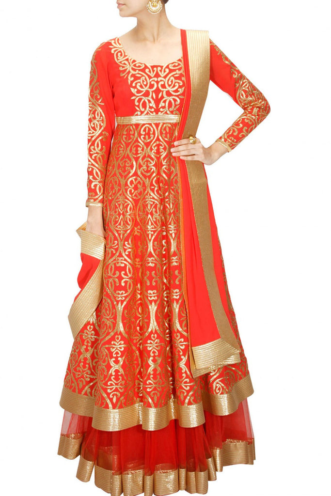 Red anarkali lehenga set