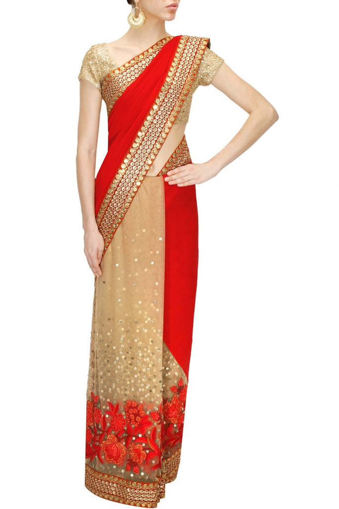 Red and Beige Sabyasachi Saree