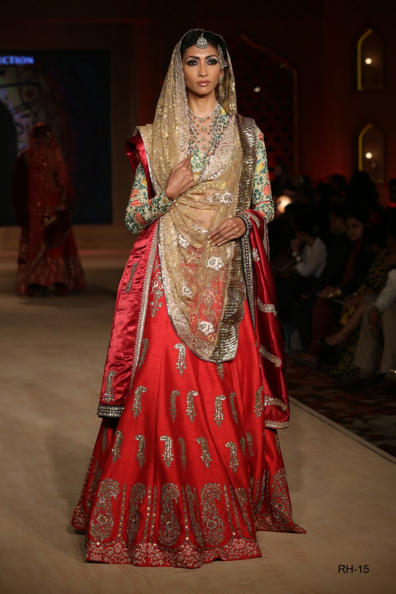 Gold and red lehenga choli