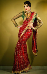 Red and Green Wedding Saree