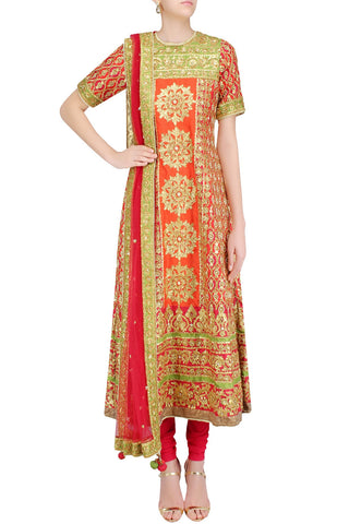 Red and green anarkali with gotta work