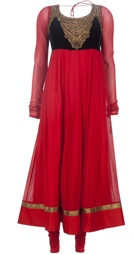 Red and blue color long anarkali suit