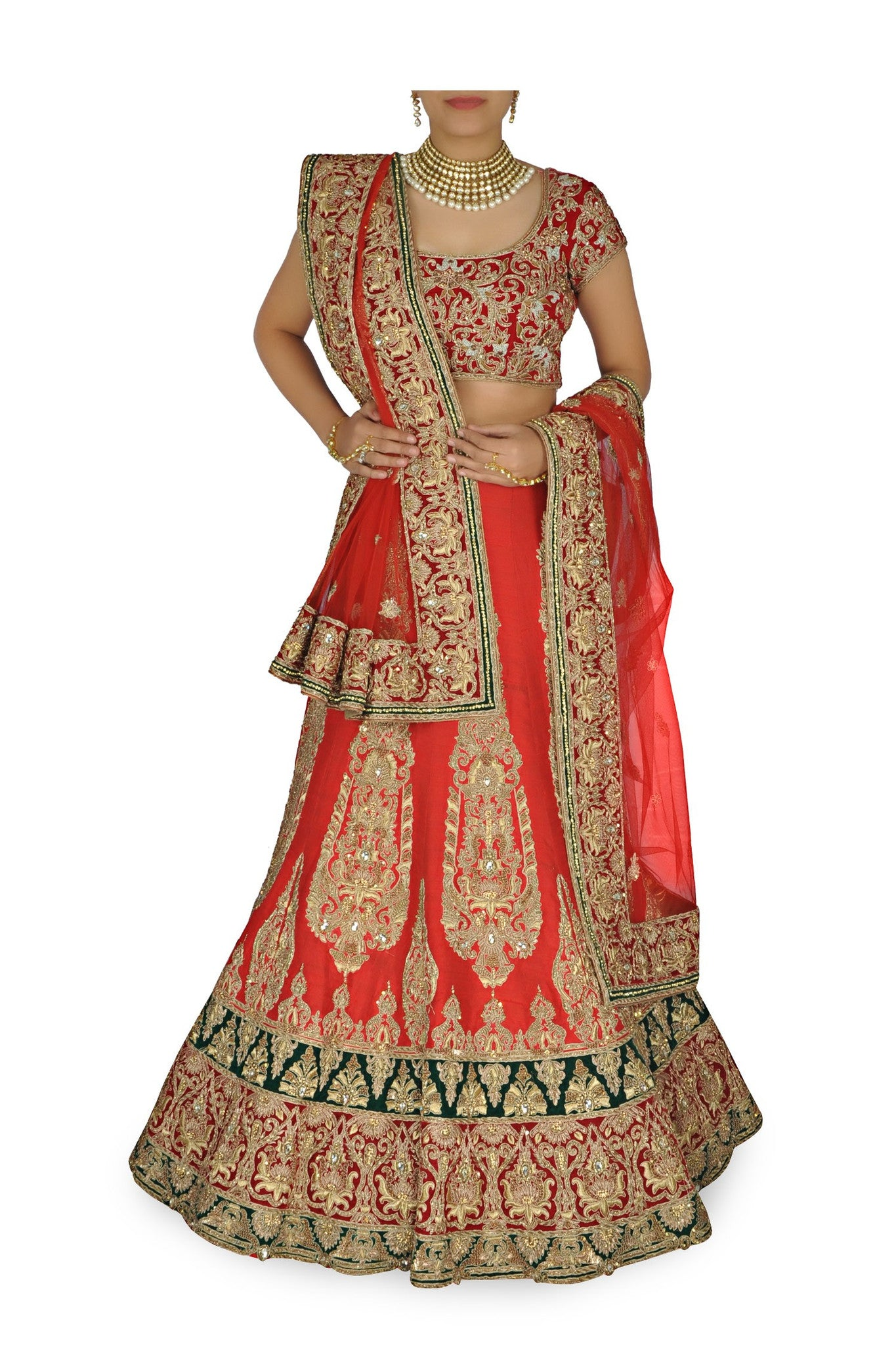 f10e71fa0945 Red color bridal lehenga choli with green velvet borders – Panache Haute  Couture