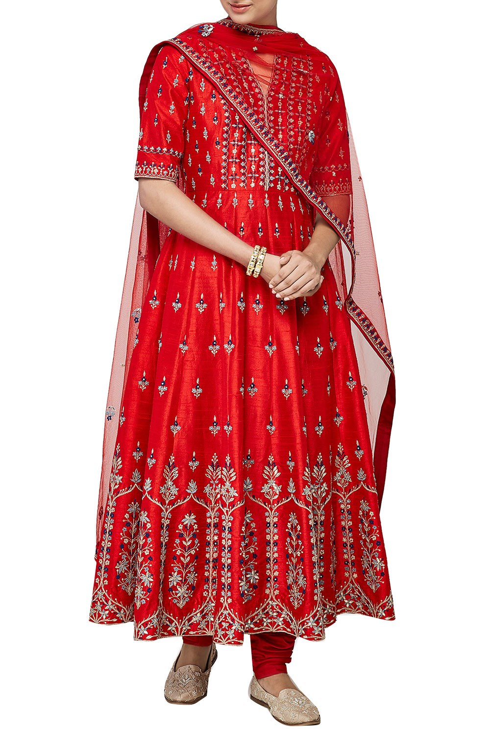 Red Color Anarkali in Dupion Silk