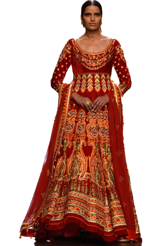 Red color anarkali in velvet