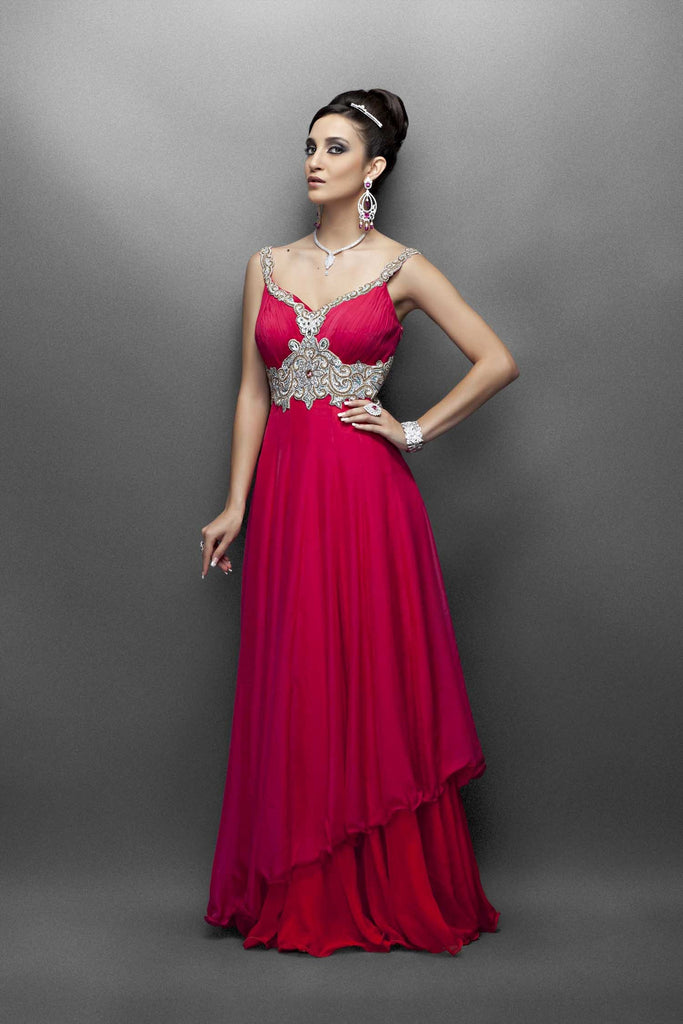 Pink and red color bridal gown