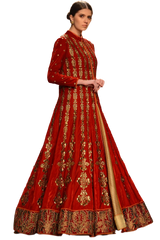 Red color Jacket lehenga in velvet