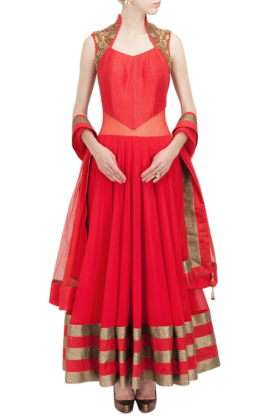 Red color long anarkali suit