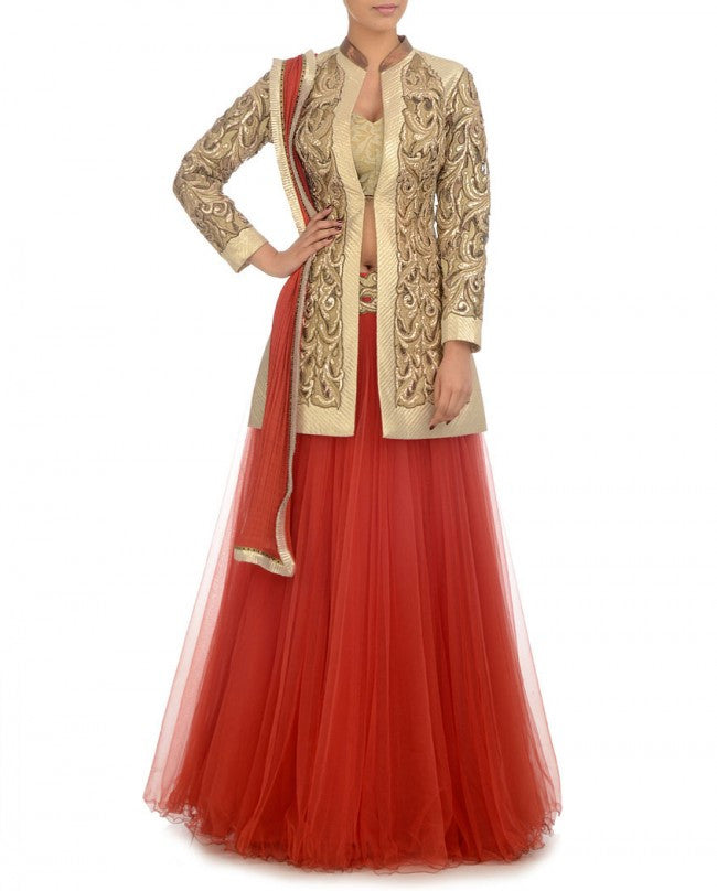 Red color long jacket lehenga choli
