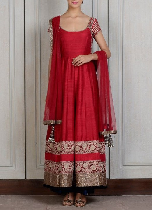 Maroon raw silk anarkali suit