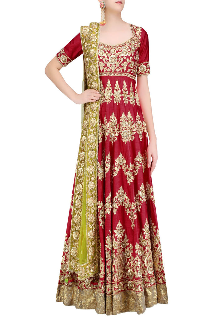 Red color gotta patti anarkali with green dupatta